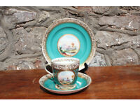 Antique Handpainted Trio Gilded and Painted with Ruins Scene Cup Saucer Side Plate Victorian Vintage