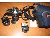 Nikon FM2 camera with 2 nikon lenses