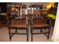 Pair of Oak Carver chairs.