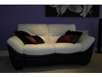 Leather Black and White DFS 2 seater sofa