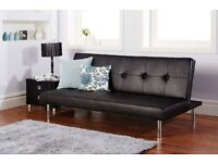 **14-DAY MONEY BACK GUARANTEE!**- Italian Click Clack Leather Sofa Bed sofabed - DELIVERED SAME DAY!