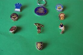 7 Linfield FC Pin badges / 1 Linfield Key ring / 1 Rangers badge