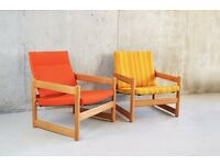 Pair of 1970'S mid century orange and yellow beech framed armchairs