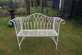 White Painted Metal Garden Seat – Sturdy and Shabby