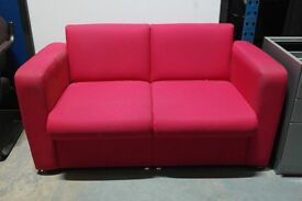 Contemporary Modern Boxy Red 2 Seater Sofa