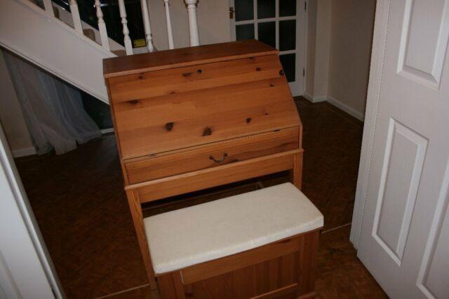 Ikea alve pine desk bureau and underneath storage bench in