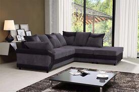 Corner sofa!! EXCLUSIVE OFFER-JUMBO CORD- FABRIC + LEATHER 3+2 SEATER SOFA IN BLACK GREY