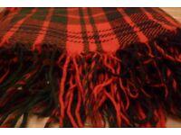 Vintage Retro Red Tartan Scottish Wool Blanket, Throw Excellent Condition