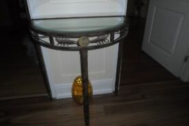 Hallway half round table with glass top