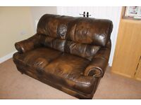 Brown leather-effect sofa - large two seater