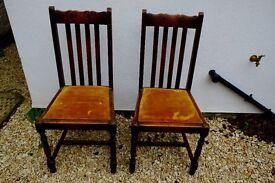 Two antique wooden vintage chairs ? oak.
