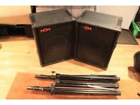 4 100 Watt Speakers for PA - 2 Carlsboro and 2 HH Electronics - plus 2 stands