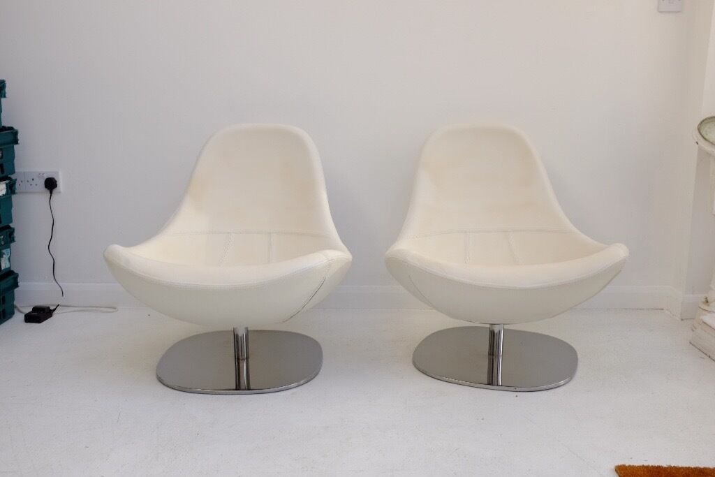 2 White Leather Ikea Tirup Swivel Chairs In