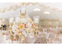 Flower wall Wedding Arch Gold Candelabras Flower balls bride Wedding Hire LOVE letters candles