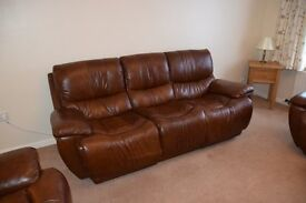 Brown leather electric recliner 3 piece suite