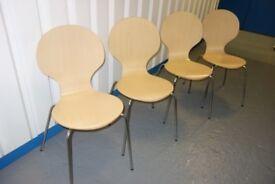 John Lewis Chrome Frame & Birch Veneer Seat x 4 £50