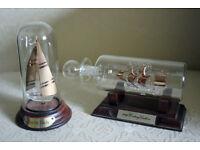 Pair of Glass Ships in Bottles