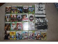 XBOX 360 BUNDLE, 22 GAMES, 2xGENUINE OFFICIAL WIRELESS CONTROLLER, HEADSET, 60 GB HDD