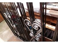 6 wrought fence/window panels 45 x 45 inches black silver bargain