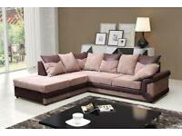 🎆💖🎆Best Price Offered🎆💖🎆DINO JUMBO CORD CORNER OR 3 AND 2 SEATER SOFA--BLACK/GREY OR BROWN
