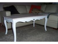 New Vermont Coffee Table, Distressed White, Shabby Chic style, L-110cm, H-50cm, W-60cm