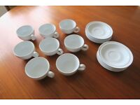 White Denby Tea cups & Saucers (x8)
