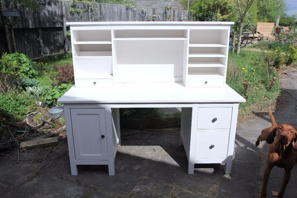 Solid wood ikea hemnes desk with add on unit in white stain. in