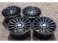 "18"" Ford Focus RS Style Alloy Wheels Brand New Gloss Black Mondeo S C Max Transit Connect"