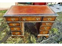 Mahogany Leather Topped desk lovely distressed style