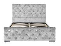 10 x DOUBLE BEDS SILVER CRUSHED VELVET FABRIC DIAMANTE BED WHOLESALE JOBLOT
