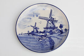 Vintage Decorative Plate Elesia Holland Delft Dutch Windmill Decorative Plate Hand Painted Display