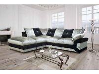 Cheapest Price -- Crush Velvet -- Dino Corner / 3+2 Sofa -- Same Day Delivery -- Brand New