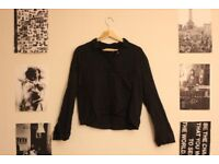 "Pull&Bear Black Crop Collared Shirt - ""See You In The Future"""