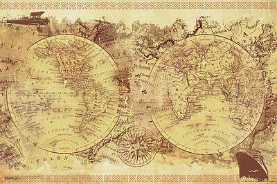(Malcolm Watson Vintage Collage World Map Old World Renaissance Poster - 18x12)
