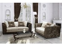 new crushed velvet 3 & 2 sofa suite set in brown mink or black silver color with daimonds- furniture