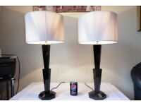 LARGE PAIR OF VINTAGE SOLID BLACK CRYSTAL GLASS TABLE LAMPS WITH VINTAGE SHADES