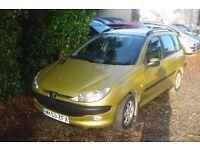 Peugeot 206 sw xt 2003-53-reg,1400cc petrol , new mot upon purchase,only 58,000 miles