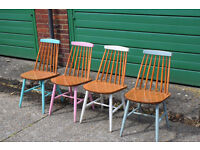 4 x Mid Century Shabby Chic Painted Chairs 3
