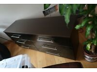 Large chest of 6 drawers, Black gloss and dark wood