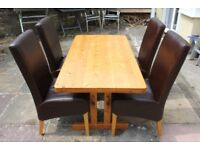Rustic Pine Dining Table & 4 Leather Chairs