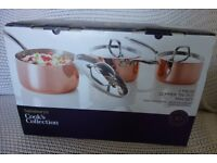 Bargain. Brand new, boxed, luxury copper-bottomed 3-piece saucepan set, duplicated gift.