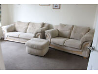2 Seater & 3 Seater Sofa with Foot Stool
