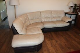 Comfortable leather corner sofa