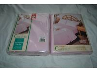 Pink Flannellette Flat Sheet for King Size Bed x 2 (still packaged)