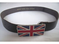Un-used, stored, men's or women's Union Jack buckle & black split heavy, chunky leather belt.£8 ovno