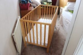 Childs East Coast Cot With East Coast Mattress Barely Used