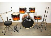 Tama Superstar Mahogany Fade Lacquered 5 Piece Full Drum Kit (22in Bass) + All Stands + Cymbal set