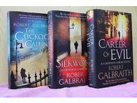 Set of 3 Hardback Cormoran Strike Novels by Robert Galbraith (aka J K Rowling)