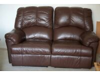 two seater Recliner Brown leather sofa ,comes apart in two pieces