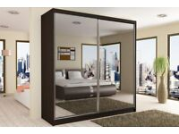 BRAND NEW - FULLY MIRRORRED TWO DOORS SLIDING WARDROBE IN DIFFERENT COLOURS AND SIZES -SAME DAY-